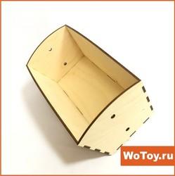 Ящик-корзина из фанеры с ручками из джутового каната