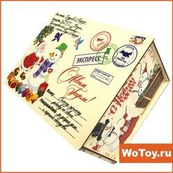Новогодняя деревянная упаковка с печатью