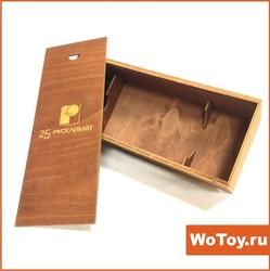 Коробка из фанеры под бутылку с веревочной ручкой