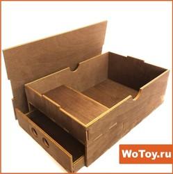 Деревянная упаковка - трансформер с отсеком для подарков и выдвижным ящичком