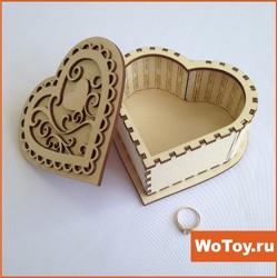 Деревянная упаковка с гравировкой ,,Сердце,,