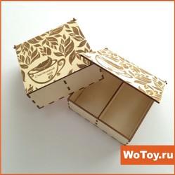 Упаковка деревянная шкатулка для чая с секциями