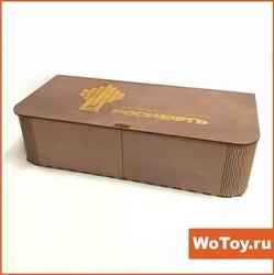 Деревянная упаковка под бутылку из фанеры с гравировкой (цветная)
